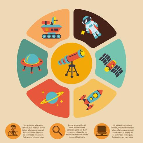 Space ikoner infographics vektor