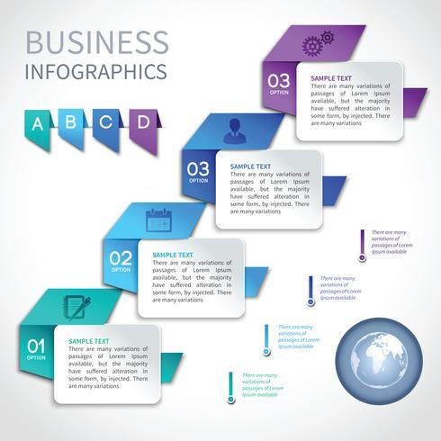 Origami infographics affärsmall vektor