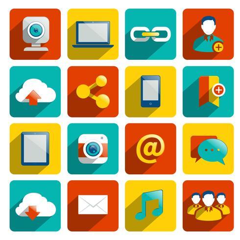 Sociala Media Ikoner Flat vektor