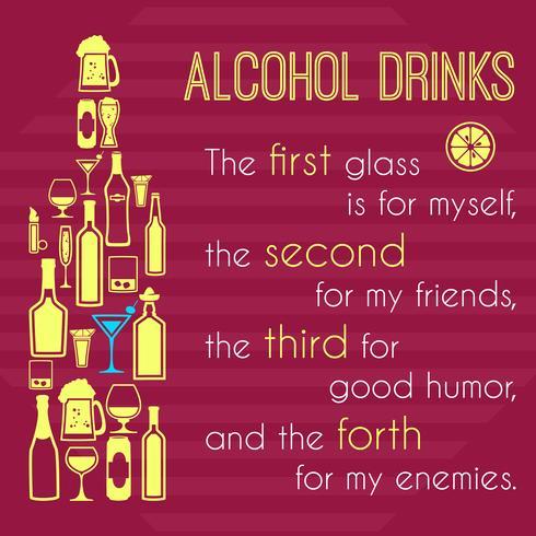 Alkoholaffisch med flaskikonikoner vektor