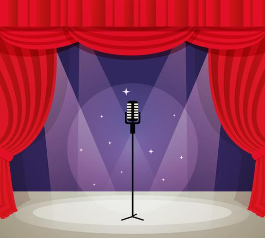 Bühne mit Mikrofon vektor