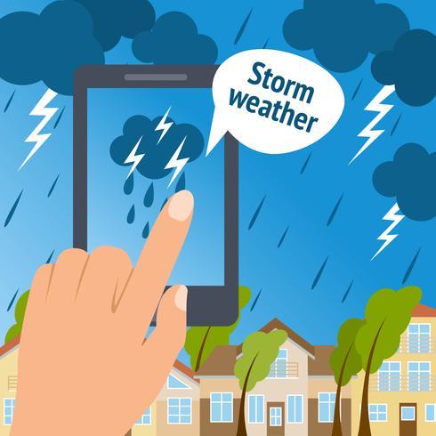 Väder smart telefon storm vektor