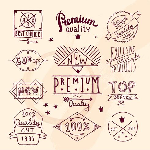 Premium retro kvalitet emblem vektor