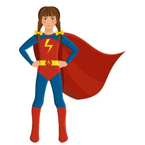 Tjej i superhero kostym vektor