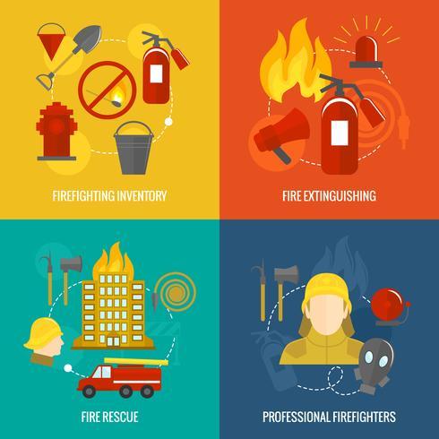Feuerwehr Icons Zusammensetzung vektor