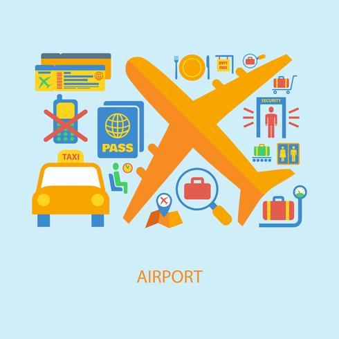 Flygplats ikon platt vektor