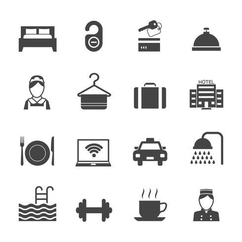 Hotel Icons schwarz vektor