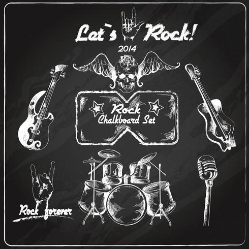 Rockmusik tavla uppsättning vektor