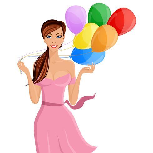 Kvinna ballong porträtt vektor