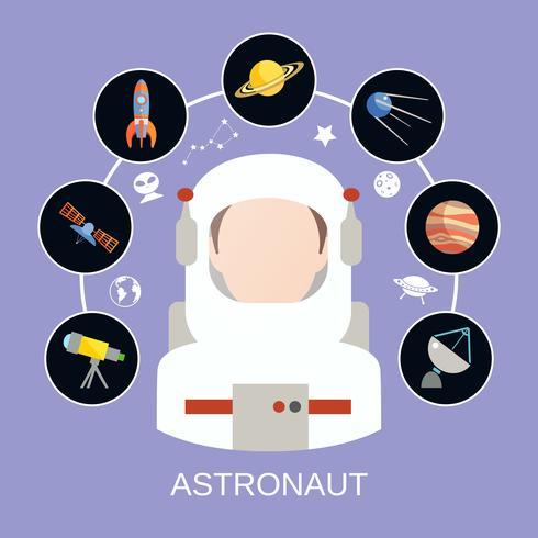 Astronaut och rymdikoner vektor