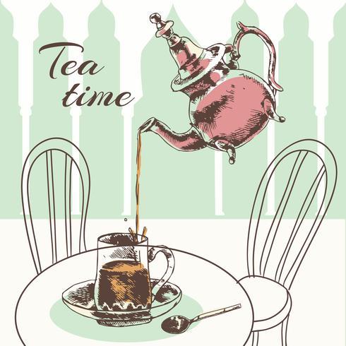 Teekanne und Tasse Tee Zeit Poster vektor