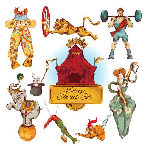 Cirkus vintage färgade ikoner uppsättning vektor