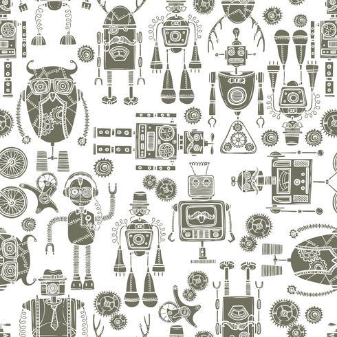 Hipster robot sömlös mönster svart och vitt vektor