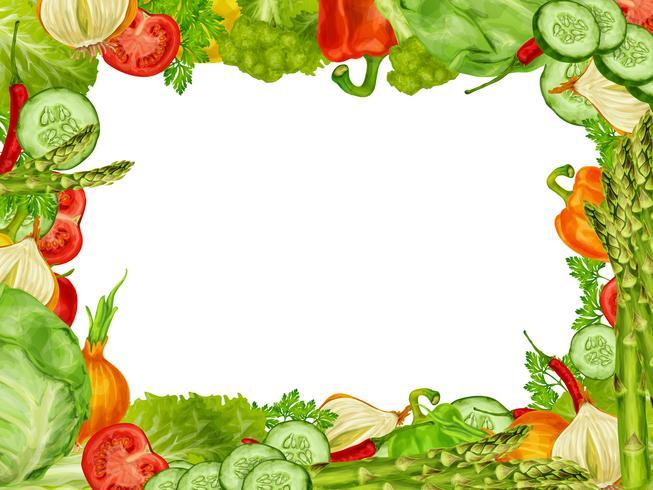 Grönsaker sätta ram vektor
