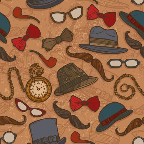 Vintage hattar och glasögon färg sömlösa mönster vektor
