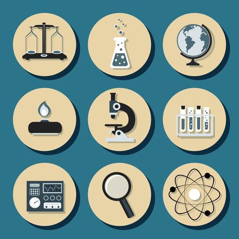 Kemiska plana ikoner vektor