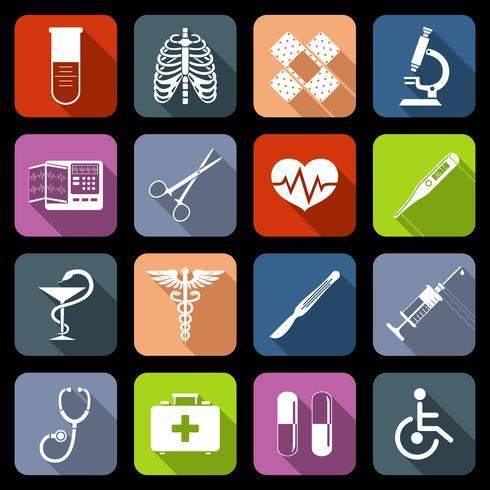 Medicinska ikoner platt vektor