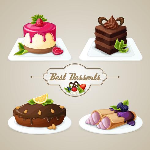 Süßigkeiten Dessert Set vektor