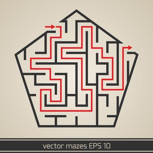 Maze labyrint med lösning vektor