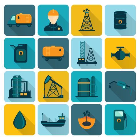 Ölindustrie-flache Ikonen vektor