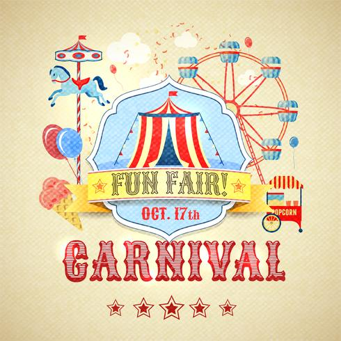 Vintage karnevalaffisch vektor