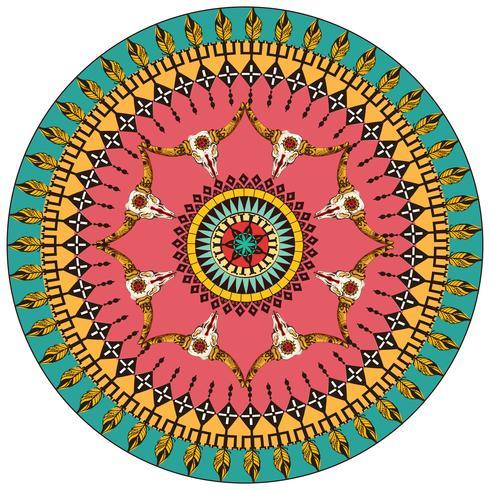 Stammes-runder dekorativer Hintergrund vektor