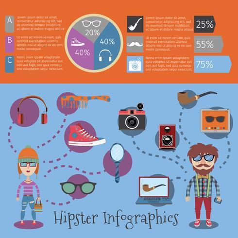 Hipster Infographik Satz vektor