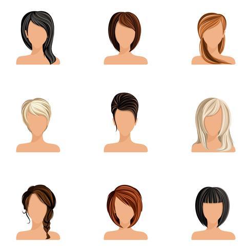 Tjej hårstil uppsättning vektor