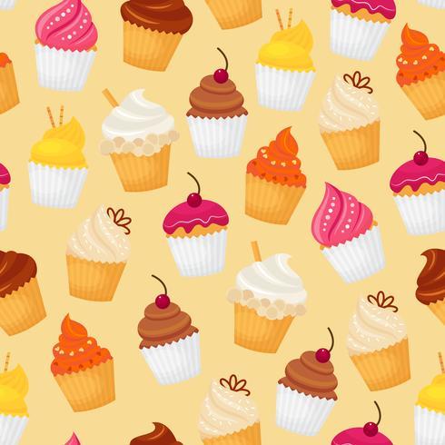 Cupcake sömlöst mönster vektor