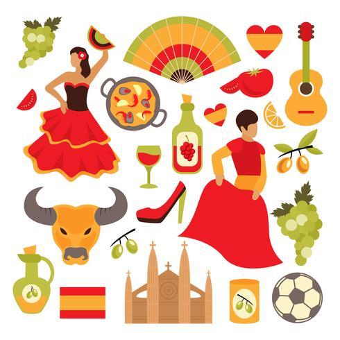 Spanien ikoner uppsättning vektor