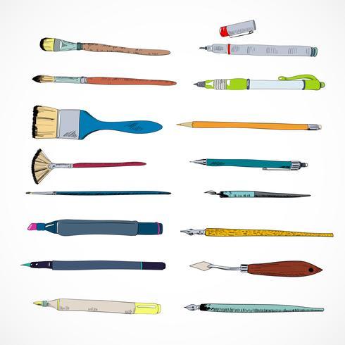 Teckningsverktyg ikoner skiss vektor