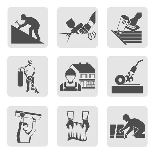 Ikoner för Roofer-ikoner vektor