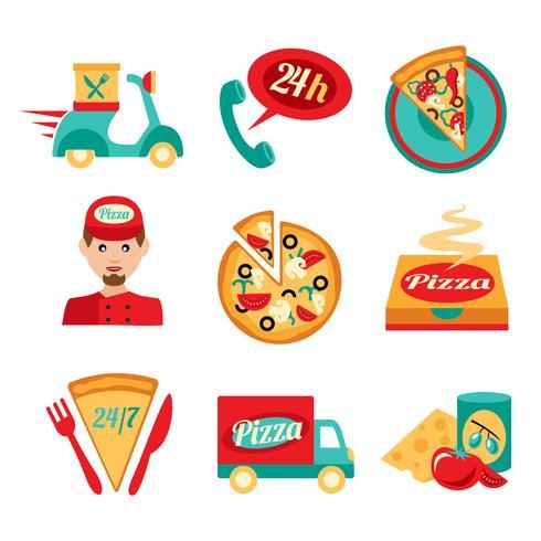 pizza snabb leverans ikoner uppsättning vektor
