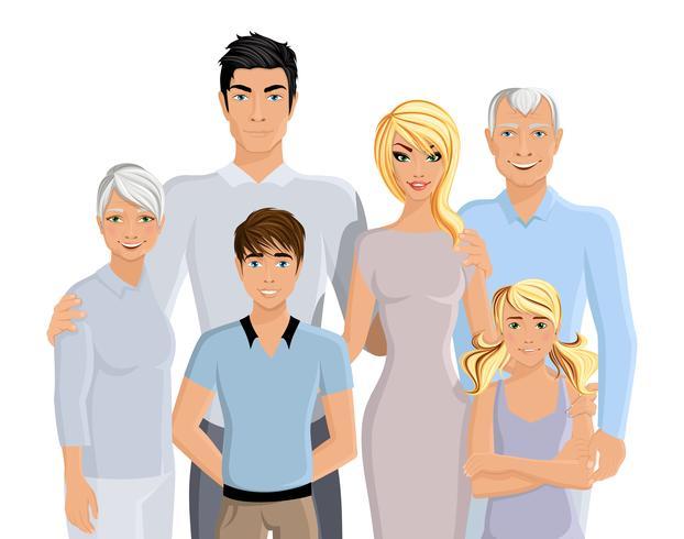 Stor familjeporträtt vektor