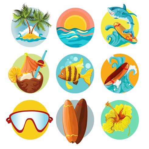 Surfing ikoner uppsättning vektor