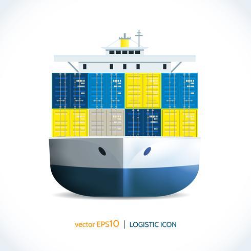 Logistische Symbol Containerschiff vektor