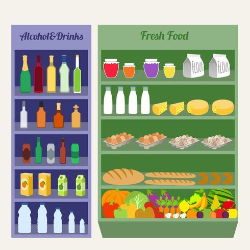Supermarket hyllor platt vektor