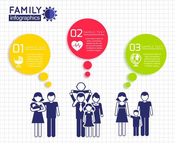 Infografiken Design mit Familie vektor