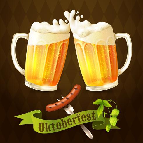 Öl muggar Octoberfest affisch vektor
