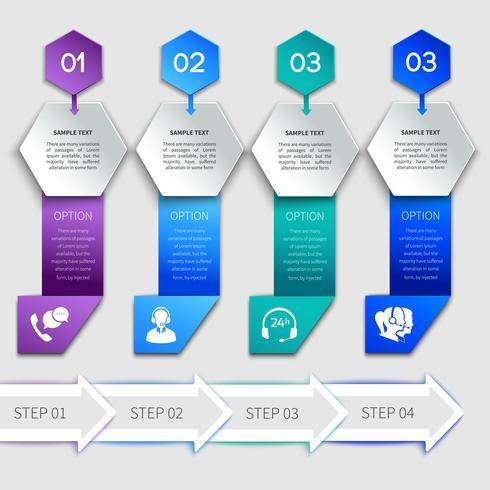 Origami infographics service mall vektor