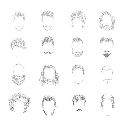 Man hårstil uppsättning vektor