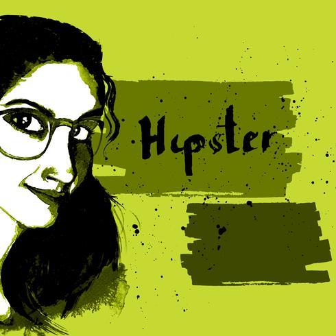 Tjej bläck hipster vektor