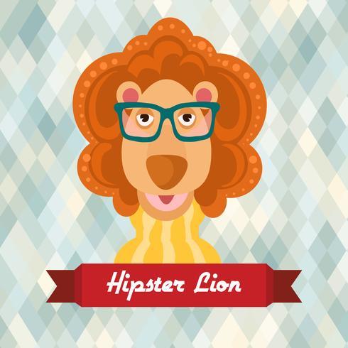 Hipster lejonaffisch vektor