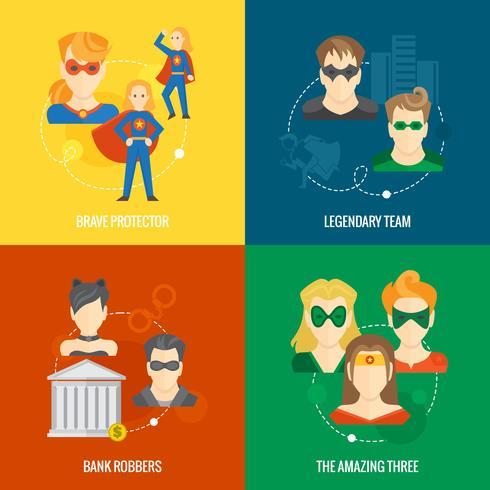 Superhero ikon platt komposition vektor
