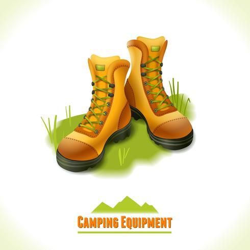 Camping symbol stövlar vektor