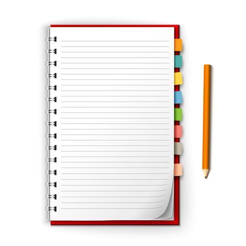 Notizblock mit Erinnerungen und Bleistift vektor