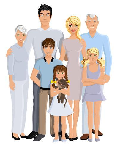 Familjens generationsporträtt vektor