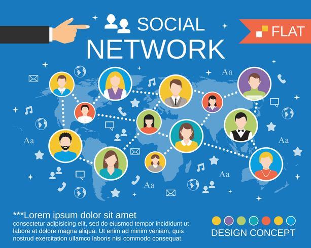 Socialt nätverk koncept mall vektor