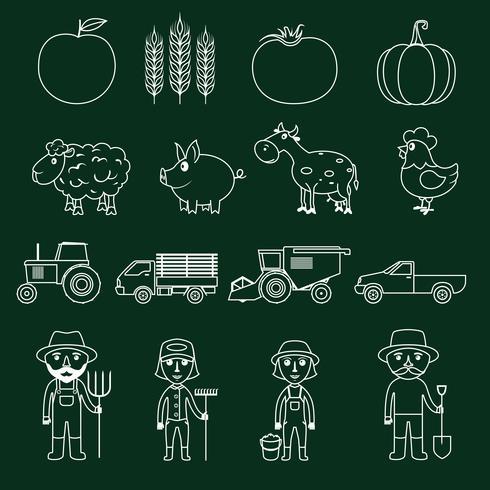 Farm Icons Set Gliederung vektor