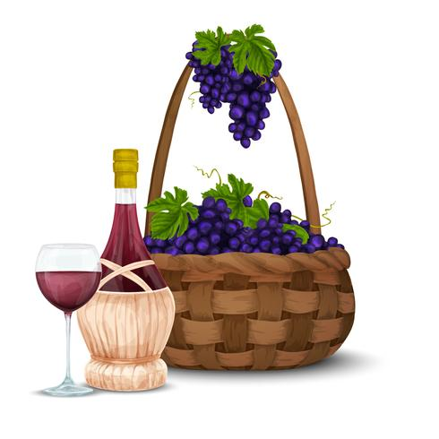 Weintraube und Weinkorb vektor
